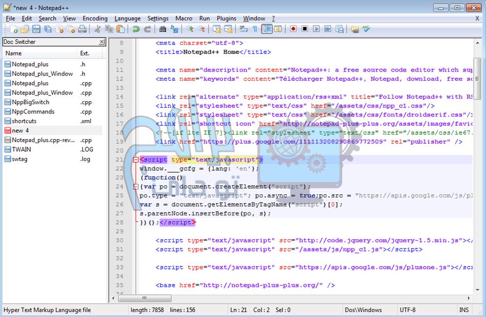 برنامج Notepad ++